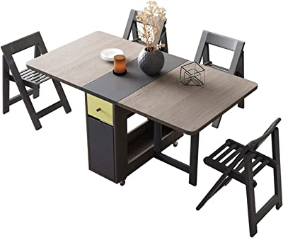 """Space Saving Double Drop Leaf Table with 4 Chairs Folding Kitchen Dining Table with 2 Drawers, Lockable Wheels, 59.1"""" X 31.5"""" X 28.9"""""""