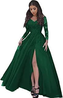 Lover Kiss Women's Lace Appliques Prom Dress Long Sleeves High Slit Evening Ball Gown Gown