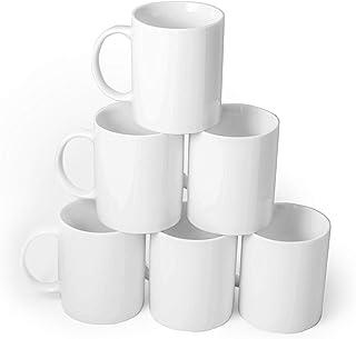 Amuse- Durable Gourmet White Mugs- Set of 6 (Pure White- 12 oz)