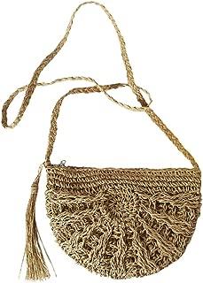 Docooler Boho Women Straw Shoulder Bag Solid Crochet Patterns Tassel Half Round Beach Holiday Crossbody Bag