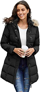 BOZEVON Winter Warm Jackets Coats - Long Hooded Thickened Down Padded Puffer Parka Casual Outdoor Windproof Warm Pocket Outerwear Overcoats with Faux Fur Trim