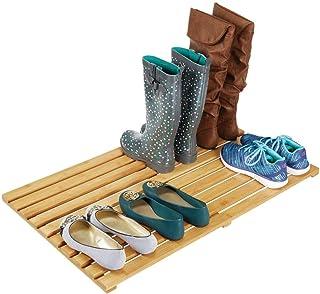 mDesign Tarima para baño ecológica – Práctica alfombra de bambú grande – Alfombrilla de baño, pasillo o garaje – color bambú