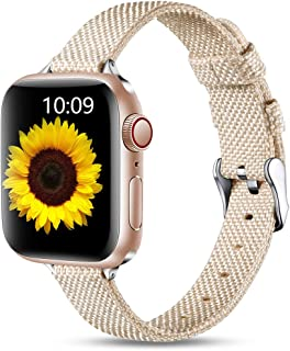 Easuny Fabric Bands Compatible with Apple Watch 44mm 42mm 40mm 38mm for Womens Men, Soft Woven Canvas Replacement Bands fo...