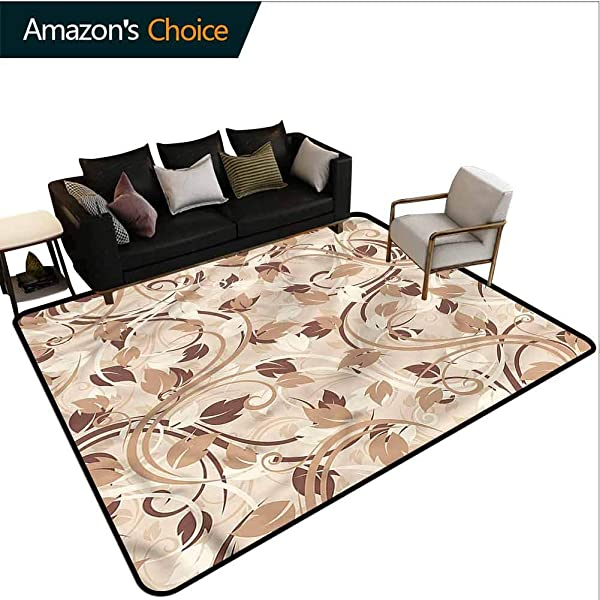 TableCoversHome Ivory Heavy Duty Area Rug Hearts Autumn Leaves Branches Pattern Printing Carpet Fashionable High Class Living Dinning Room 5 X 8