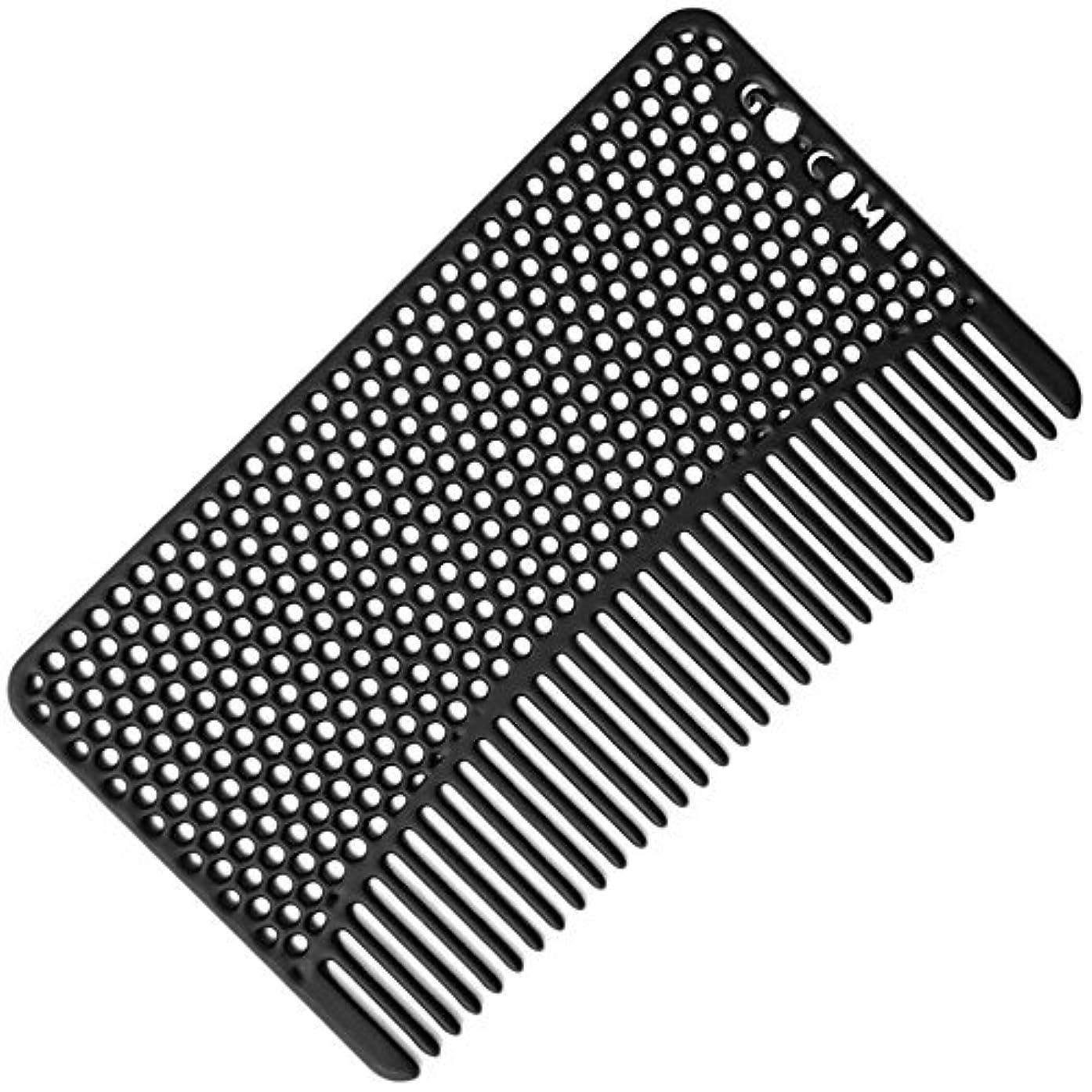 踊り子容量司教Go-Comb - Wallet Comb - Sleek, Durable Stainless Steel Hair and Beard Comb - Black [並行輸入品]