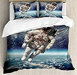 Astronaut Floating in Outer Space Bedding Set