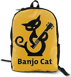Kimi-Shop Cat Play Banjo Adultos Hombres y Mujeres Unisex Mochila de Estilo Divertido al Aire Libre