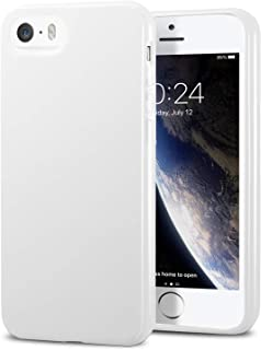 TENOC Phone Case Compatible for Apple iPhone SE & iPhone 5S & iPhone 5, Slim Fit Soft TPU Bumper Protective Cover, Glossy White