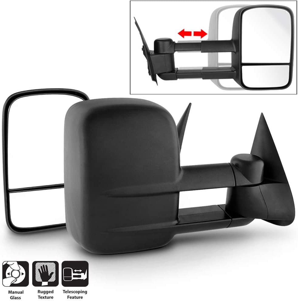 Acanii - Extend Telescoping Towing Side Mirrors Manual Non Heat