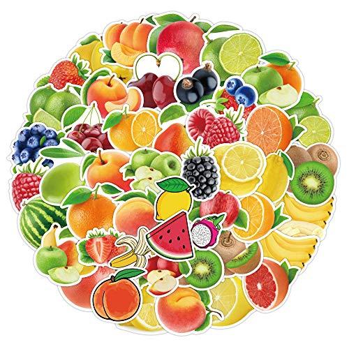 BLOUR 50 Piezas de Fruta, sandía, Naranja, UVA, Manzana, Garabato, Pegatinas, Cuaderno, Maleta, Pegatinas