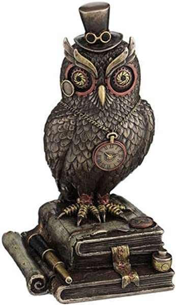 Steampunk Top Hat Owl Standing On Books