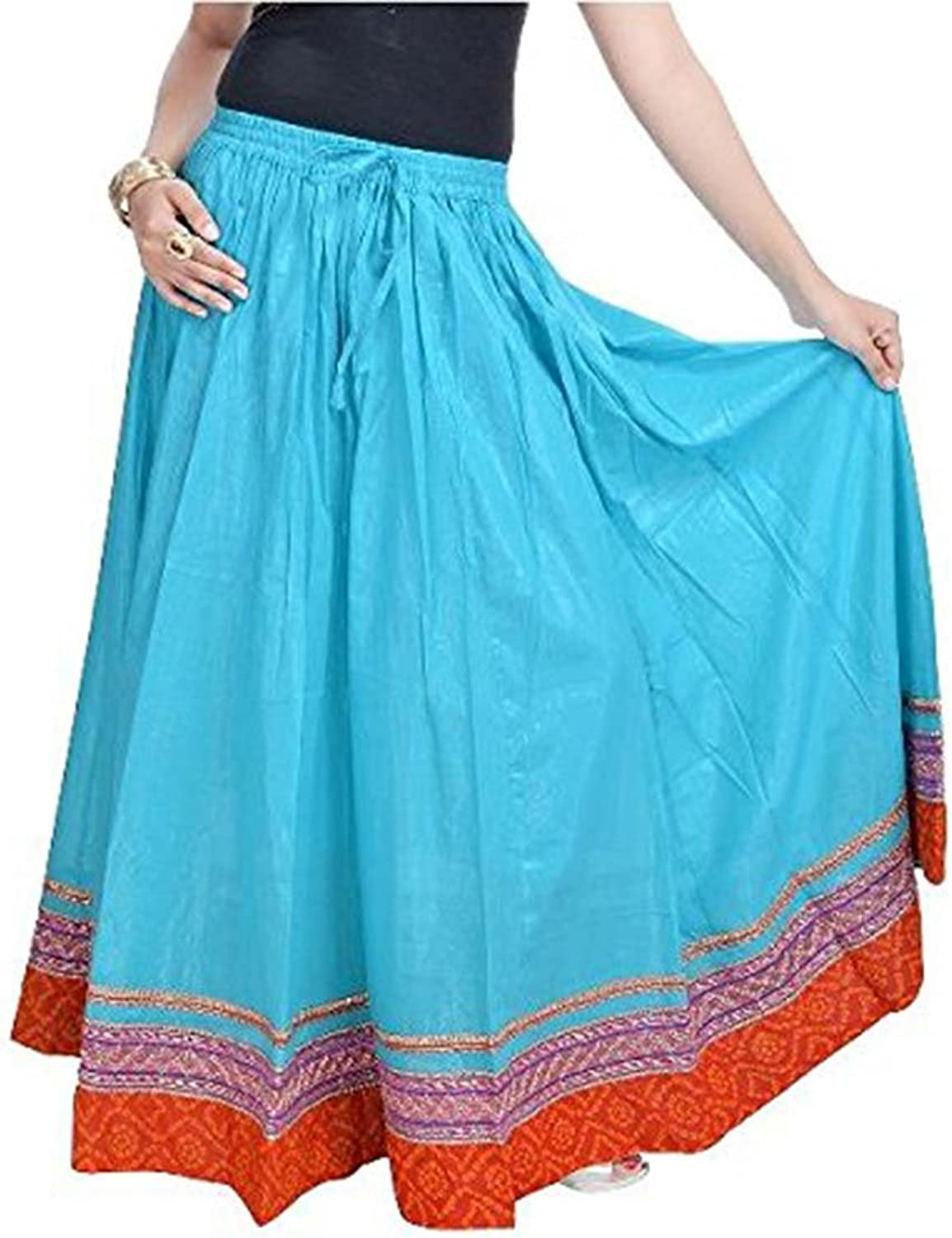 Indian Handicrfats Export Women bluee Cotton Long Skirt(Light Sea Green)(SMSKT515)