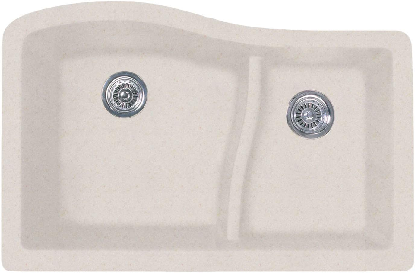 Quls 3322 22 X 33 Granite Undermount Large Small Bowl In Bianca Double Bowl Sinks