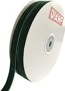 QIANF Vintage Green Velvet Ribbon, 3/8