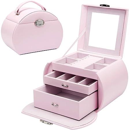 Yorbay Boîte à bijoux Rose à 3 niveaux verrouillable avec miroir, pour ranger des colliers, montres, bagues, bracelets, boucles d'oreilles