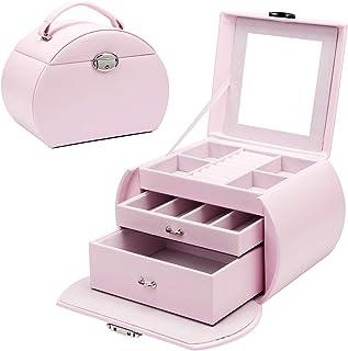 Yorbay Boîte à bijoux Rose à 3 niveaux verrouillable avec miroir, pour ranger des colliers, montres, bagues, bracelets, bo...