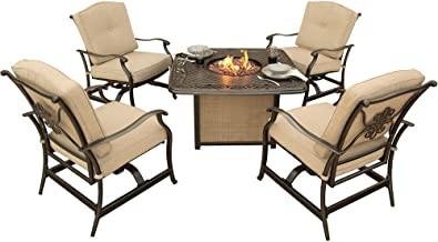Cambridge CON5PCFP-CAST 5 Piece Concord Seating Set with Cast-Top Fire Pit Table, Tan Outdoor Furniture