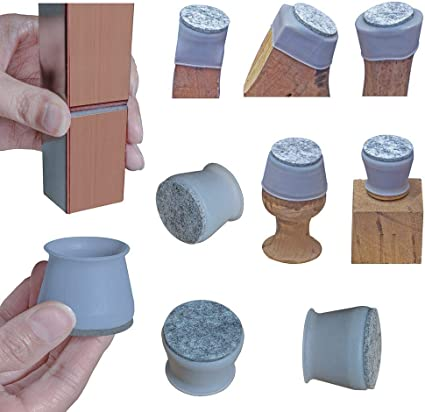 """1-9/16"""" Chair Leg Covers, Felt Bottom Soft Silicone Furniture Foot Protector Pads, 16 Pcs Free Moving Table Leg Covers, Stool Leg Protectors Caps to Prevent Floor Scratches and Reduce Noise, Grey."""