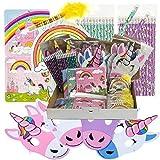 JuniorToys Einhorn-Party Ergänzungs-Paket 48 Kleinspielwaren Mitgebsel Tombola Kindergeburtstag Wurfmaterial - Einhorn Puzzle Masken Bleistifte Blöckchen
