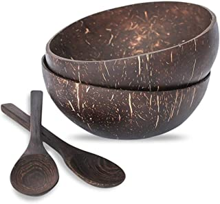 Natural Coconut Bowls and Coconut Spoons (Set of 2 Bowls and 2 Spoons) - 100% Natural Serving Bowls - Vegan - Organic - Hand Made - Eco Friendly - Made from Reclaimed Coconut Shells - by Coco Co.