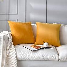 NANPIPER Set of 2 Velvet Soft Decorative Cushion Throw Pillow Covers 18x18 Inch/45x45 cm Cozy Solid Velvet Square Pillowca...