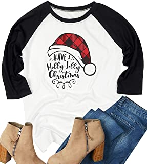 Have A Holly Jolly Christmas Tshirts Letter Print Christmas Hat Graphic T Shirt Long Sleeve Cute Top for Women