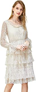 Women's Elegant Lace Embroidered Midi Cocktail Dress with Multi Layered Skirt