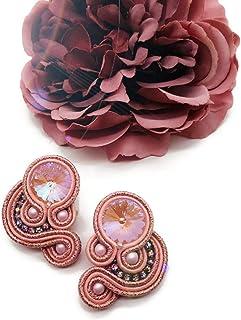 orecchini in soutache rosa, orecchini cristallo