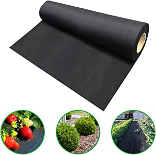 Agfabric Landscape Easy-Plant Weed Block Mulch,Weed Barrier Fabric, Outdoor Garden Weed Rugs,Garden mat for rasied Bed,3.0oz,Black,5x10ft