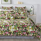 FADFAY Floral Bedding Set Twin Duvet Cover 100% Cotton Bedding 600 TC Colorful Olive Green Garden Flower Bed Cover Girls Romantic Pink Rose Printed Shabby Vintage Zipper Corner Ties 3 Pcs- No Filling