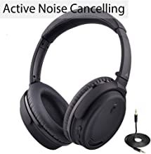 Avantree Active Noise Cancelling Bluetooth Headphones with Mic, Wireless Wired 2-in-1, Comfortable & Foldable Stereo ANC Over Ear Headset, Fast Stream Low Latency for Phone PC TV Airplane - ANC032