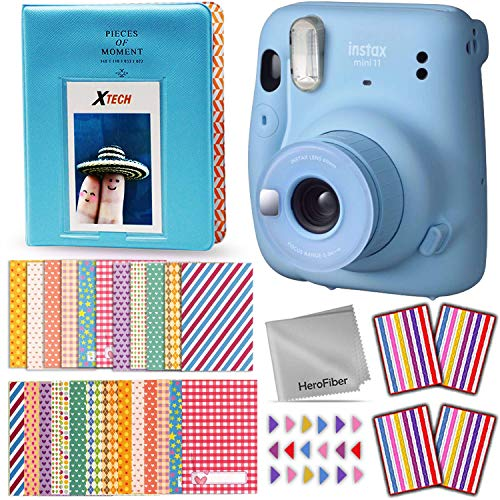 FujiFilm Instax Mini 11 Instant Camera (Sky Blue) + Accessories Kit Includes: 64 Pocket Photo Album, 60 Colorful Sticker Frames, Corner Stickers, HeroFiber Cloth + Accessory Bundle
