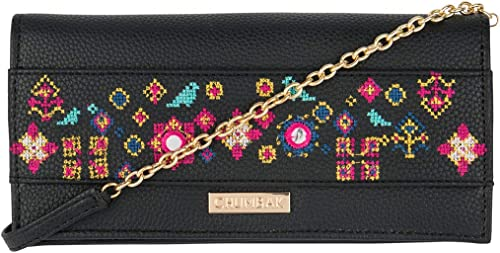 Cross Stitch Floral Black Wallet for Women