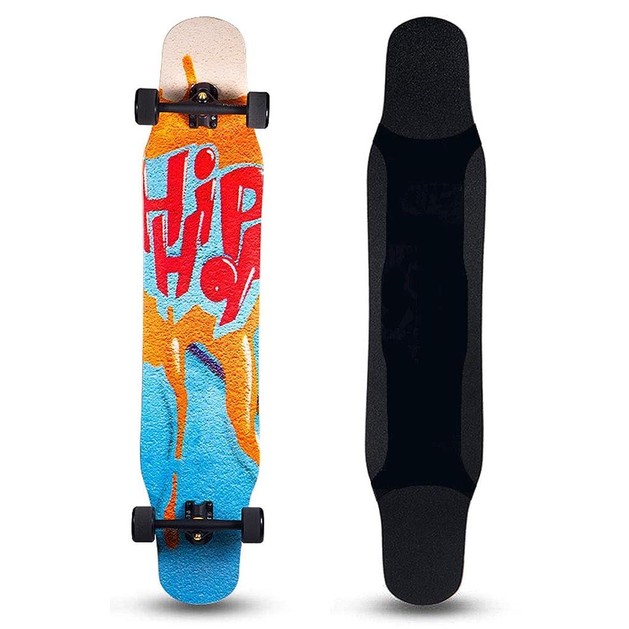 よく話されるビルダー鎮静剤スケートボード スケートボードロングボードプロフェッショナル耐久性の強いダンスボード大人始まり、四輪スケートボードフリースケートボード女の子スケートボード (Color : D, Size : 118*25*12cm)