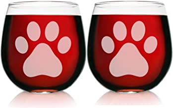 Two Engraved Stemless Wine Glasses-16.75 Ounce Capacity-Paw Print Design- 2 Piece Set- Elegant Glass-Perfect Gift for any Dog Owner or Rescue-Birthday-Housewarming-Pet Owner-Made in USA