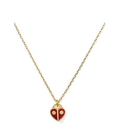 Kate Spade New York Animal Party Ladybug Mini Pendant Necklace (Red) Necklace
