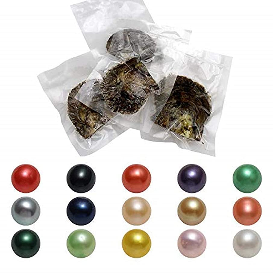 AAA Akoya Saltwater Cultured Oysters with Pearl Inside Love Wish and Lucky Mixed Five Colors Round Pearls 50PC (7-8mm)