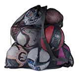 Super Z Outlet Sports Ball Bag Drawstring Mesh - Extra Large Professional Equipment with Shoulder Strap Black (30' x 40' Inches)