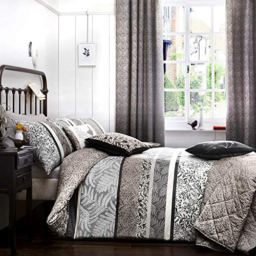 Dreams 'n' Drapes Hanworth Parure de lit réversible Motif Rayures/Feuilles Gris Anthracite Lit Simple, Charbon, Single Duvet Cover Set