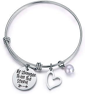 Jvvsci Be Stronger Than the Storm Bracelet Inspirational Jewelry Friends BFF Sisters Encouragement Gift Be Brave Bracelet