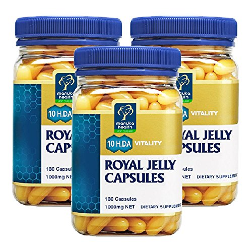 Manuka Health 10hda Royal Jelly 1000mg 180 Capsules 100% Pure New Zealand Royal Jelly Immune System Booster & Supports Skin Health & Vitality (Pack of 3)