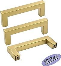 goldenwarm Gold Cabinet Drawer Pulls Brass Kitchen Cabinet Handles 10 Pack - LSJ12GD76 Square Dresser Drawer Handles for Cabinets Hardware Brushed Brass Pulls 3