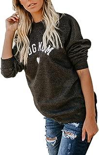 Womens CAT Dog MOM Heart Letter Print Long Sleeve Sweater Sweatshirt Blouse Tops
