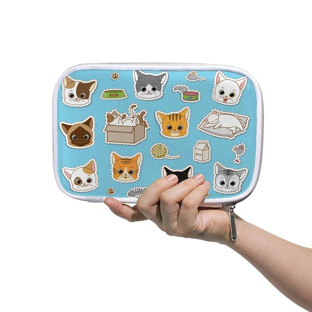 慈悲深い積分割るZHIMI 化粧ポーチ メイクポーチ レディース コンパクト 柔らかい おしゃれ コスメケース 化粧品収納バッグ 可愛い猫の柄 機能的 防水 軽量 小物入れ 出張 海外旅行グッズ パスポートケースとしても適用