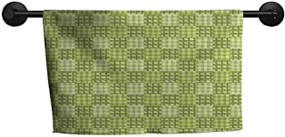 ZSUO Christmas Towel W 20 x L 20(inch) Hotel Towel,Abstract,Polka Dots and Checkered Pattern Textured Patchwork Simplistic Artwork,Lime and Pale Green