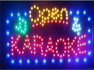 CHENXI Large Size Hot Sale Running Led Karaoke Neon Light Sign Led Karaoke Shop Open Signage 15.5 X 27.5 inch (70 X 40 CM, karaoke open)