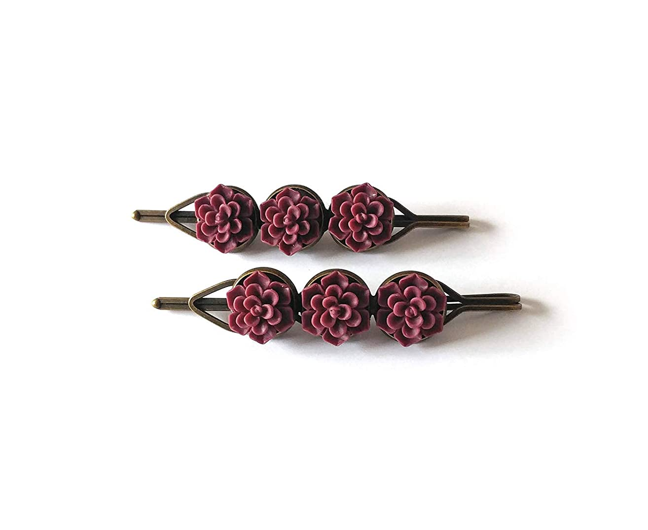 Succulent Hair Clips for Women - Matte burgundy set of two high quality bronze bobby pins