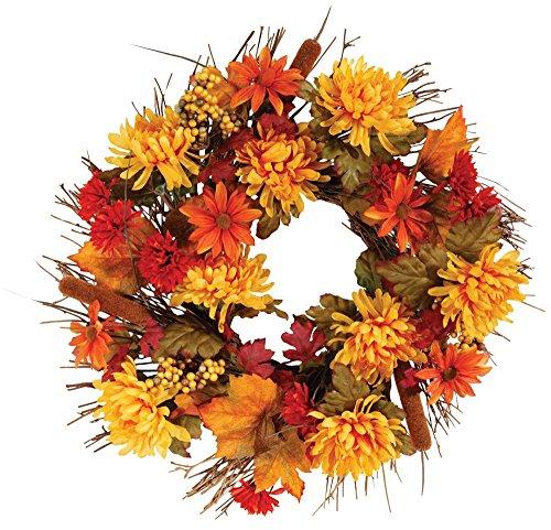 "OakRidge Fall Mum Wreath, 18"" Diameter, Silk Floral Autumn Home Décor for Indoor/Outdoor Use"
