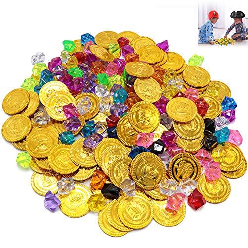 Monedas de Oro y Gemas Piratas del Tesoro Pirata, Niños de Monedas de Oro de 50 Piezas y Gemas Piratas de 100 Piezas, Tesoros para la Búsqueda del Tesoro Cumpleaños de los Niños