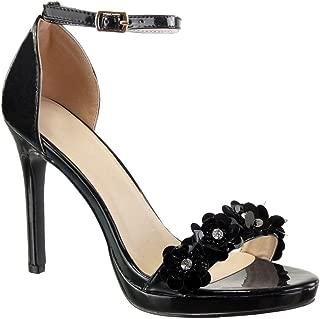 Zapatillas Moda Sandalias Tacón escarpín Stiletto Sexy Elegante Mujer Flores Strass Tanga Talón Tacón de Aguja Alto 10.5 CM